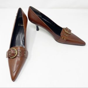 NEW STUART WEITZMAN Leather Kitten Heels Brown 10